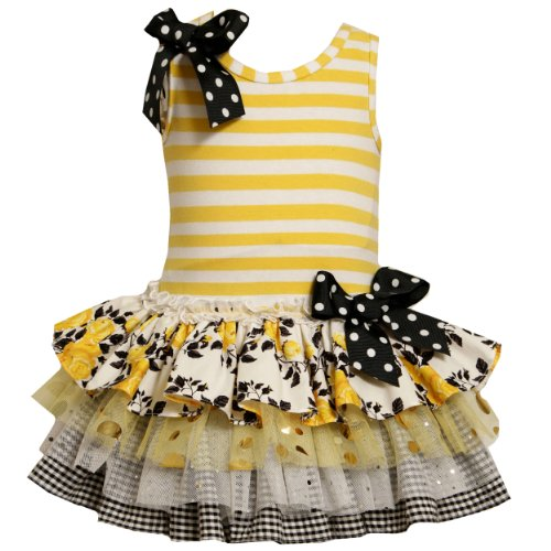 bonnie jean toddlers 2t 4t yellow black white striped multi tiered mix print drop waist special occasion girl party dress review