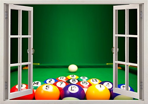 Pool Snooker Game Play Sport Sports View Home Office Kitchen Kids Nursery Room Gift 3D Unique Window Depth Style Vinyl Print Removable Wall Sticker Decal Mural Size 33.5