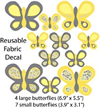 Yellow and Gray Butterfly Wall Decals for Kids Room Large Butterflies
