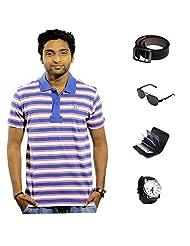 Garushi Blue T-Shirt With Watch Belt Sunglasses Cardholder - B00YML6RDM