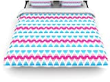 Kess InHouse Apple Kaur Designs Swimming Pool Tiles 104 by 88-Inch Blue Pink Woven Duvet Cover, King/California King