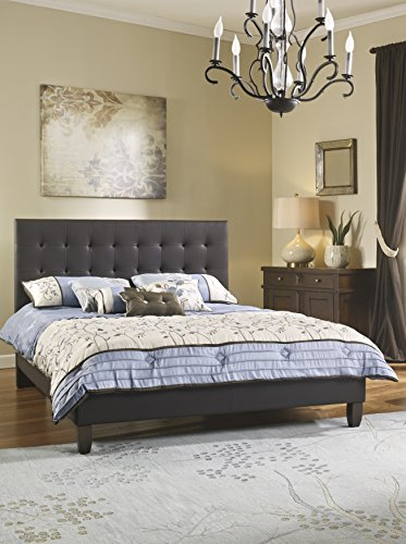 MaxRest Hailey Tufted Leather Platform Bed