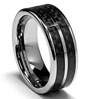 8MM Men's Tungsten Carbide Ring With Double Row Carbon Fiber Inaly sizes 8 to 12