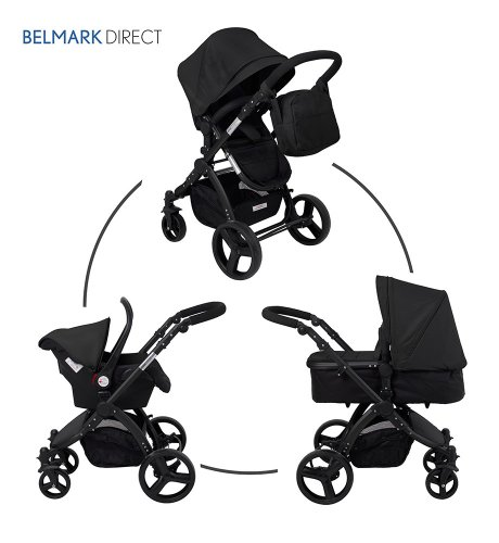 SproggiBELMARK 166949011 3 in 1 Baby Travel System/Stroller/Pram/Pushchair Black (black frame) cruiser