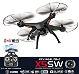 Drone with Camera Live Video X5SW Quadcopter - RC Helicopter FPV Live View Feed 720p 2MP HD Camera, 3D Flip Roll, 6 Axis Gyroscope, 4 Channels Radio Control