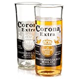 Recycled Corona Extra Beer Bottle Glasses 11.6oz / 330ml - Pack of 2 | Upcycled Corona Beer Bottles Corona Tumblers Corona Glasses Handcrafted Glass - Made in UK - Eco Friendly Gift from Who's Glass
