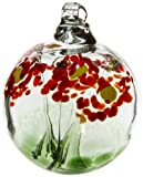 Kitras 2-Inch Blossom Ball Glass Ornament, Greetings