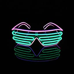 Nickqin Halloween Christmas New Year Party Neon EL Electroluminescent Light Costume Mask Glasses - Pink/Green (Black Frame)
