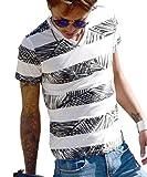 (JOKER Select) Tシャツ メンズ vネック ボタニカル柄 ボーダー 花柄 半袖 カットソー アロハ ビター系 大きいサイズ L C柄グレー(13)