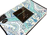 Cynthia Rowley King or Queen Duvet Cover Set Paisley Large Moroccan Medallion Aqua Grey Turquoise Blue Gray (King)