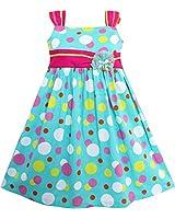 Sunny Fashion Robe Fille Mignon Arc Attacher Polka Point Genou Longueur Bleu