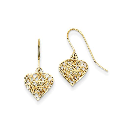PriceRock 14K Gold Diamond Cut Puffed Heart Dangle Earrings