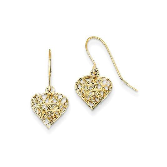 PriceRock 14K Gold Diamond Cut Puffed Heart Dangle Earrings