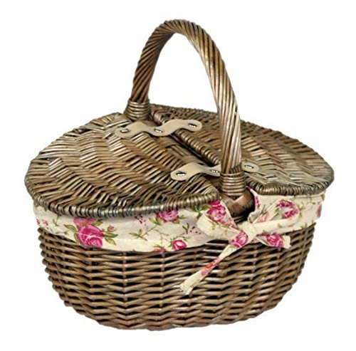 Small Antique Wash Willow Wicker Oval Picnic Basket with Garden Rose Lining New 2016 by Willow & Avon 0