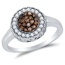 buy Size 8 - 925 Sterling Silver Chocolate Brown & White Round Diamond Halo Circle Engagement Ring - Channel Set Flower Center Setting Shape (1/3 Cttw.)