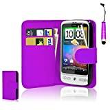 CellDeal Flip Wallet Leather Case Cover For HTC Desire C Free Screen Protector + Purple