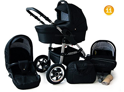 Baby-Pram-Stroller-Buggy-Car-Seat-Carrycot-Travel-system-FREEBIES-17-Colours-SWIVEL-WHEELS