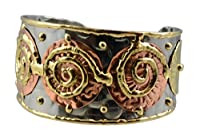 Anju Mixed Metal Cuff Bracelet with 3 Copper Disks and Spirals by Anju