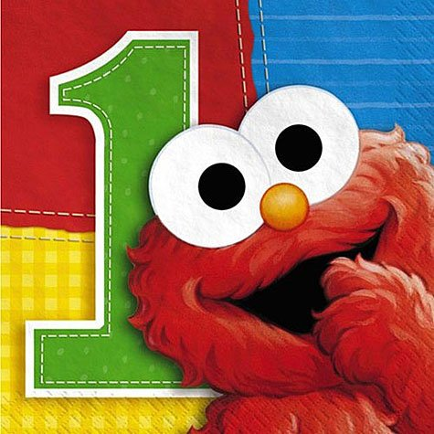 Sesame Street 1st Birthday Beverage Napkins Feature Baby Elmo To Help Clean Up The Mess Each Package Contains 16 3 Ply