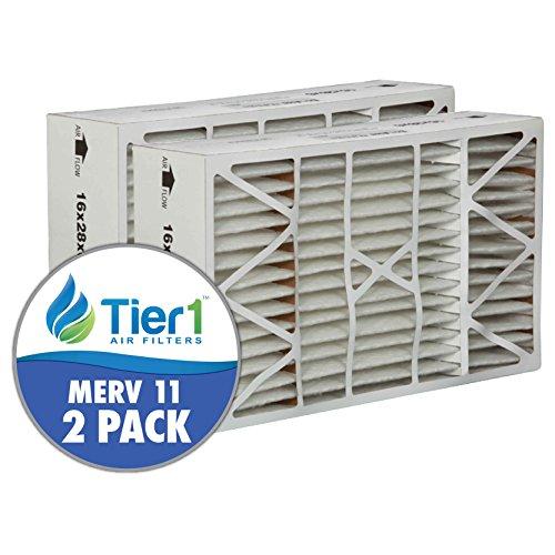 Tier1 16x28x6 MERV 11 Aprilaire / SpaceGard #401 SG4PR Comparable AC Furnace Air Filter - 2 Pack