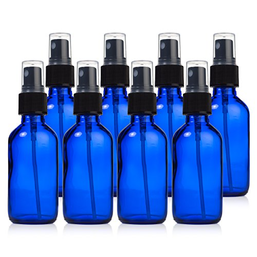 Glass Spray Bottles - 8 Piece 2oz Cobalt Blue Small Glass Bottles Set with Fine Mist Sprayer By Papifleure -Reusable Dark Colored Potion Bottles For Travel and Any Purpose (Small Cobalt Blue Glass Bottles compare prices)