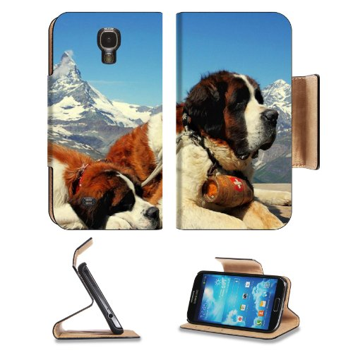Dog St Bernard Couple Rescuer Samsung Galaxy S4 Flip Cover Case With Card Holder Customized Made To Order Support Ready Premium Deluxe Pu Leather 5 Inch (140Mm) X 3 1/4 Inch (80Mm) X 9/16 Inch (14Mm) Liil S Iv S 4 Professional Cases Accessories Open Camer