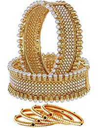Jewels Gold Studded Gold Plated Trendy Bangles Set For Women & Girls (Pack Of 6)