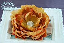 Stunning Vintage Amber Designer Flower with Large Rhinestones Clusters Center on Super Soft, Stretchy Tan Headband. Fits Baby up to Young Girl