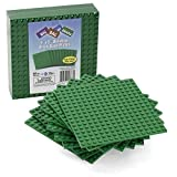 """Brick Building Base Plates By SCS - Small 5""""x5"""" Green Baseplates (10 Pack) - Tight Fit With Lego"""