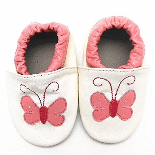 Sayoyo Baby Butterfly Soft Sole Leather Infant Toddler Prewalker Shoes (18-24 months, White)