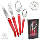 LAGUIOLE 16 pces luxury Cristal boxed set, translucent red This magnificent single block cutlery will grace any table, while your guests will remember the inlaid trend cutlery, with a new look design