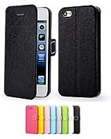 Mulbess Apple iPhone 5C DearStyles Étui Housse en cuir ultra-slim pour iPhone 5C Couleur Noir