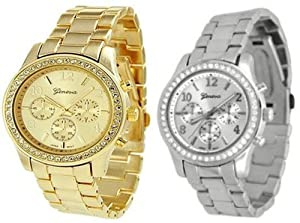 2 PACK Geneva Silver and Gold Plated Classic Round CZ Ladies Boyfriend Watch