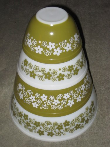 SET OF 4 - Vintage 1970's Pyrex Spring Blossom Green Mixing Nesting Batter Bowl - 1 1/2 Pint, 1 1/2 Quart, 2 1/2 Quart & 4 Quart