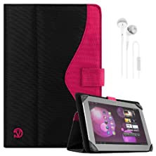 "buy Soho Portfolio Stand - Nylon Detachable Flip Cover Case (Pink Magenta) For Samsung Galaxy 10.1"" Tablets (Tab 3, Tab 2, Tab 1) + White Handsfree Earphone /Microphone Headphones"