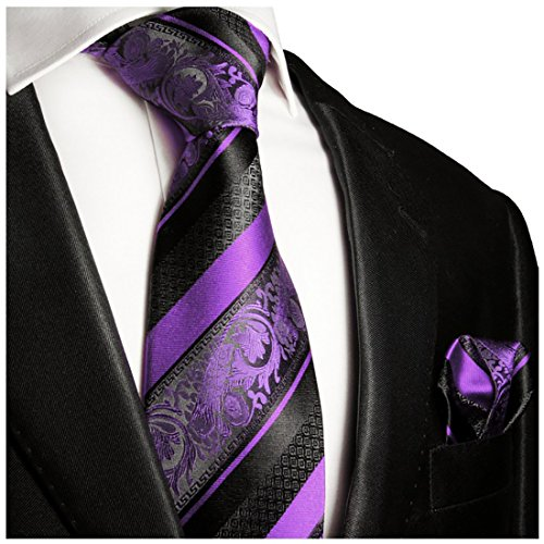Purple and Black Silk Tie and Pocket Square . Paul Malone Red Line (Xl Mens Ties compare prices)
