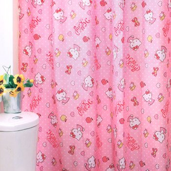 Hello Kitty Shower Curtains: Pink Dots