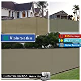 Fence Privacy Screen Taped with Brass Grommets Mesh Fabric (Zip Ties Included), 4'x50' Beige/Tan