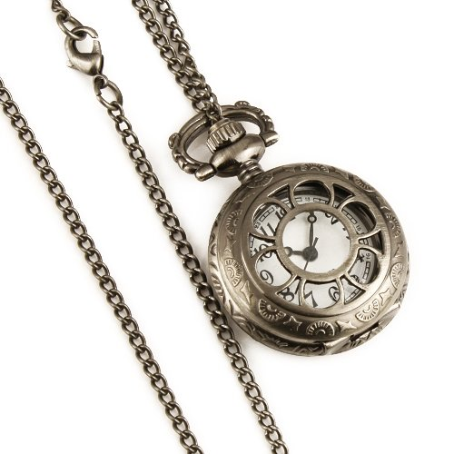 ESS Ladies Women's Silvered Stainless Steel Case White Dial Necklace Pendant Quartz Pocket Watch WP036