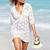 MG Collection Fashion Floral White Lace V-Neck Beach Swimsuit Cover Up thumbnail