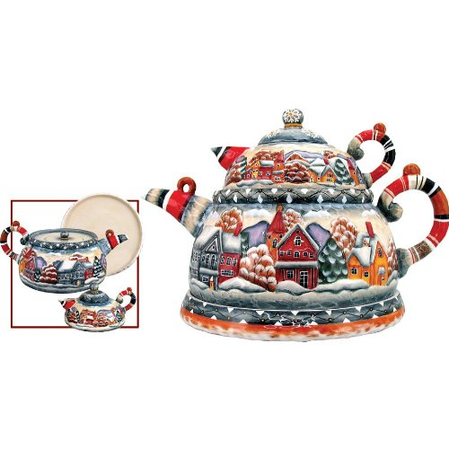 G. Debrekht Winter Mountain Village Te A Set, Nested Set Includes Teapot With Strainer, Creamer And Plate To Serve Sweets, 7-Inch Tall