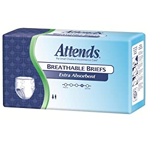 Attends Extra Absorbent Breathable Briefs, Medium, 24 Count (Pack of 4) by Attends