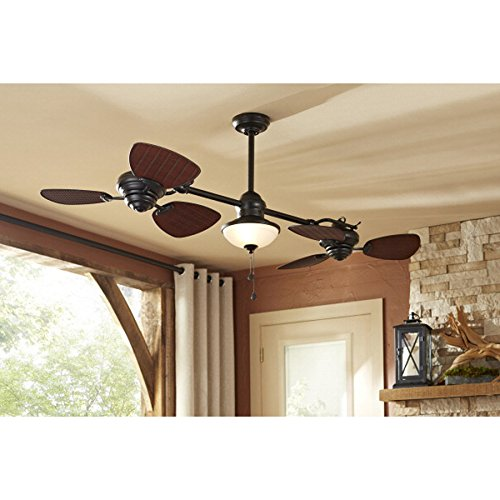 Harbor Breeze Twin Breeze Ii 74-in Oil-rubbed Bronze Outdoor Downrod Ceiling Fan 1