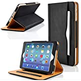 Zonewire® BLACK & TAN LEATHER WALLET SMART FLIP CASE COVER & SCREEN PROTECOR FOR APPLE IPAD 2 3 4 MINI AIR WITH FULL SLEEP WAKE COMPATIBILITY! (Ipad Mini 2)
