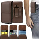 ITALKonline Motorola XT389 Motoluxe PU Leather BROWN Vertical Executive Side Wallet Pouch Case Cover with Belt Loop