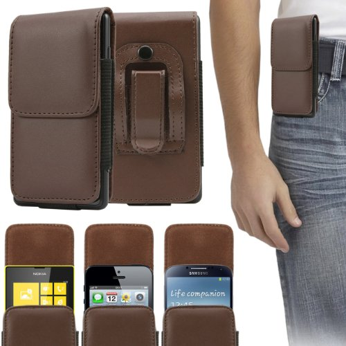 Italkonline Lg G3 Beat Pu Leather Brown Vertical Executive Side Wallet Pouch Case Cover With Belt Loop