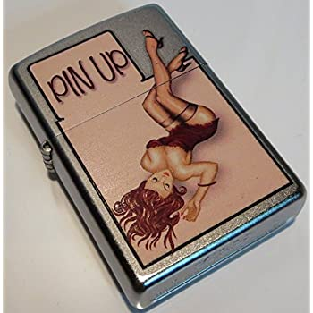 Zippo Windy Vintage Nose Art Red Lingerie Pinup Satin Chrome Lighter