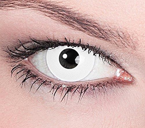 """1 Paar Farbige Kontaktlinsen Weiß """"White Zombie"""" Tageslinsen ohne Stärke"""