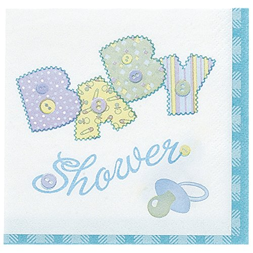 Blue Stitching Baby Shower Luncheon Napkins, 16ct
