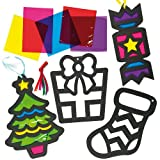Christmas Stained Glass Effect Decorations for Children to Create and Hang (Pack of 6)